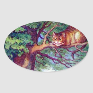 Alice and the Cheshire Cat Oval Sticker