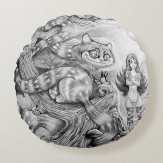 """""""Alice and the Cheshire Cat"""" Round Throw Pillow Round Pillow"""
