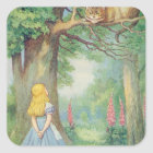 Alice and the Cheshire Cat Square Sticker