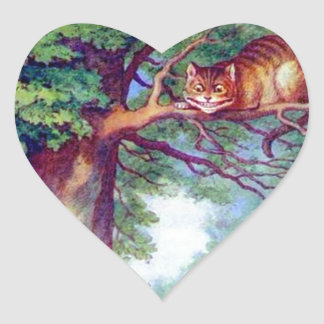 Alice and the Cheshire Cat Heart Sticker