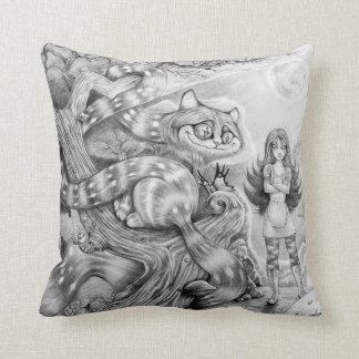 """""""Alice and the Cheshire Cat"""" Throw Pillow"""