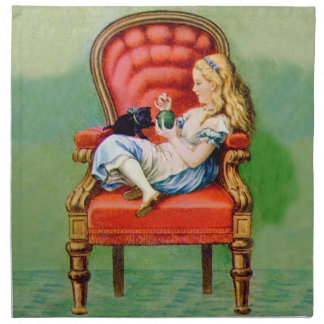 Alice and the Dinah the Cat in the Big Red Chair Napkin