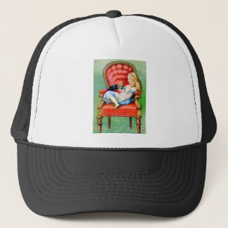 Alice and the Dinah the Cat in the Big Red Chair Trucker Hat