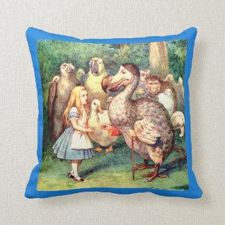 Alice and the Dodo Bird at the Caucus Race Throw Pillow