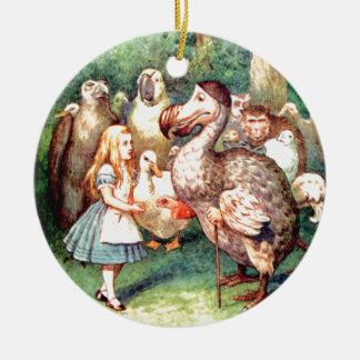 Alice and The Dodo Bird in Wonderland Ceramic Ornament
