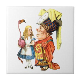 Alice and the Duchess Discuss Flamingo Croquet Ceramic Tile