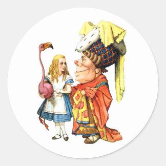 Alice and the Duchess Discuss Flamingo Croquet Classic Round Sticker