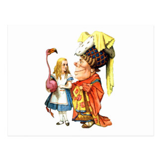 Alice and the Duchess Discuss Flamingo Croquet Postcard