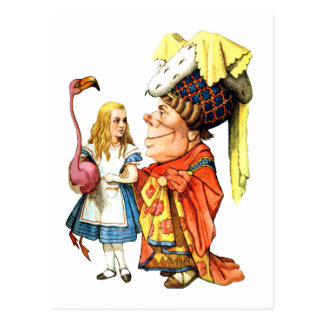 Alice and the Duchess Discuss Flamingo Croquet Postcard