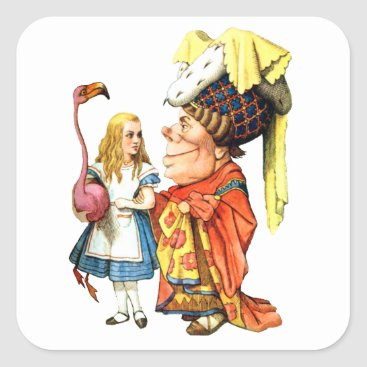 Valentines Themed Alice and the Duchess Discuss Flamingo Croquet Square Sticker