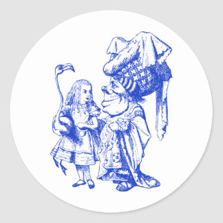Alice and the Duchess Inked Blue Classic Round Sticker