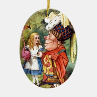 Alice and the Duchess Play Flamingo Croquet Ceramic Ornament