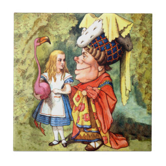 Alice and the Duchess Play Flamingo Croquet Ceramic Tile