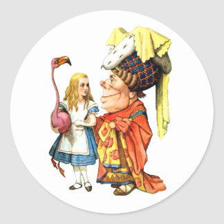 Alice and the Duchess Play Flamingo Croquet Classic Round Sticker