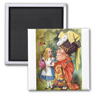 Alice and the Duchess Play Flamingo Croquet Fridge Magnets