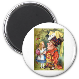 Alice and the Duchess Play Flamingo Croquet Magnets