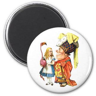 Alice and the Duchess Play Flamingo Croquet Fridge Magnet