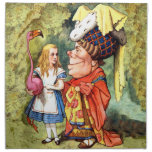 Alice and the Duchess Play Flamingo Croquet Napkins