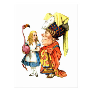 Alice and The Duchess Play Flamingo Croquet Postcard