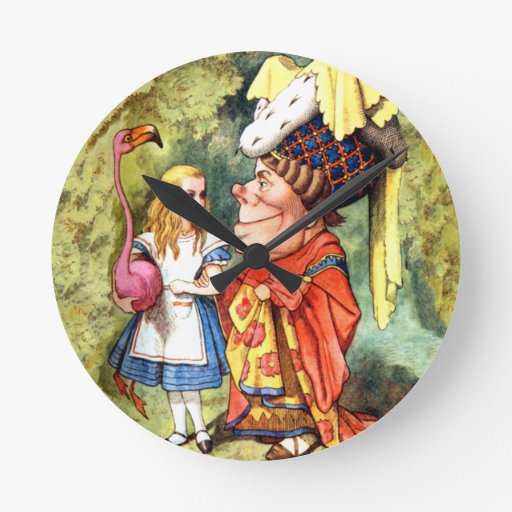 Alice and the Duchess Play Flamingo Croquet Round Wallclock