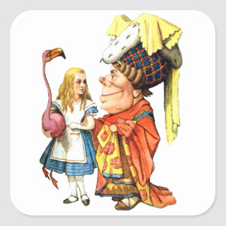 Alice and The Duchess Play Flamingo Croquet Square Sticker