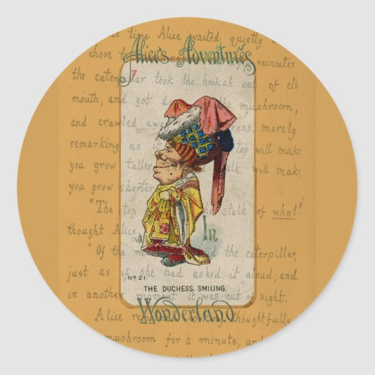 Alice and The Duchess Smiling Classic Round Sticker
