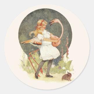 Alice and the Flamingo Classic Round Sticker