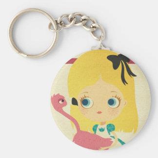 Alice and the Flamingo keychan Basic Round Button Keychain