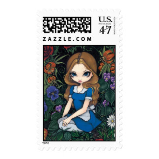 """Alice and the Flowers"" Stamp"