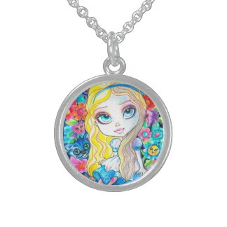 Alice and The Flowers Sterling Round Necklace