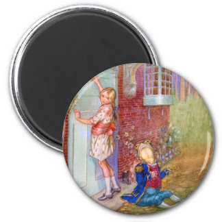 Alice and The Frog Footman At The Duchess' Doorway 2 Inch Round Magnet