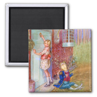 Alice and The Frog Footman At The Duchess' Doorway 2 Inch Square Magnet