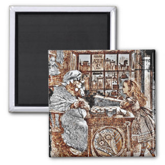 Alice and the Knitting Sheep 2 Inch Square Magnet