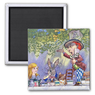 Alice and the Mad Hatter's Tea Party 2 Inch Square Magnet