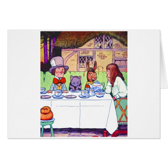 Alice and the Mad Hatter's Tea Party Card