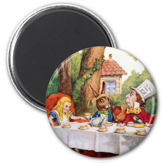 Alice and the Mad Hatter's Tea Party in Wonderland 2 Inch Round Magnet