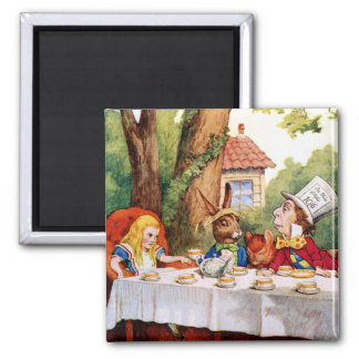 Alice and the Mad Hatter's Tea Party in Wonderland 2 Inch Square Magnet