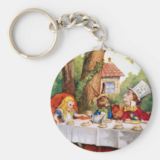 Alice and the Mad Hatter's Tea Party in Wonderland Keychain
