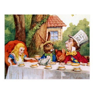 Alice and the Mad Hatter's Tea Party in Wonderland Postcard