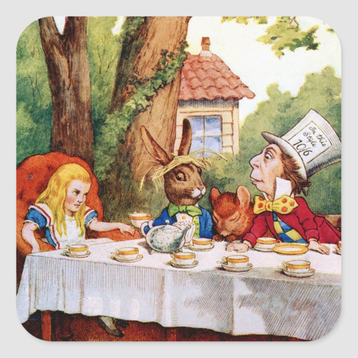 Alice And The Mad Hatter S Tea Party In Wonderland Square Sticker Zazzle Com