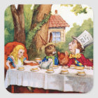 Alice and the Mad Hatter's Tea Party in Wonderland Square Sticker