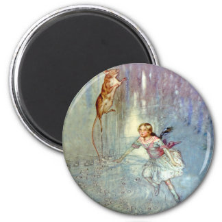 Alice and the Mouse Swim in the Pool of Tears 2 Inch Round Magnet