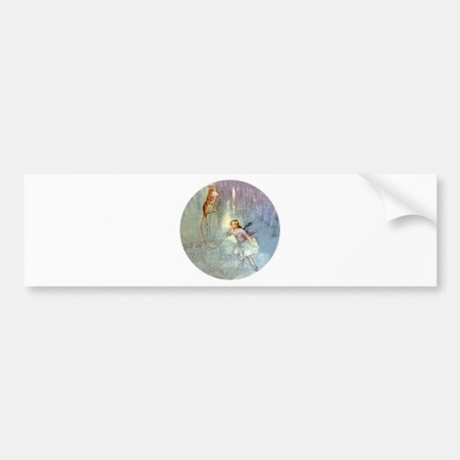 Alice and the Mouse Swim in the Pool of Tears Car Bumper Sticker