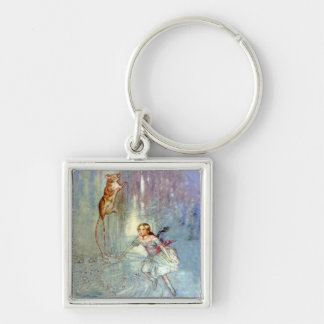 Alice and the Mouse Swim in the Pool of Tears Keychain