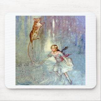 Alice and the Mouse Swim in the Pool of Tears Mouse Pad