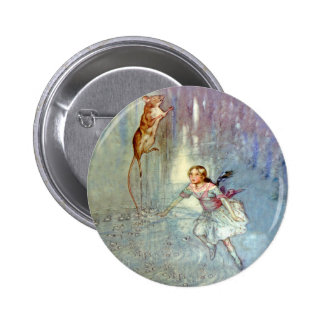 Alice and the Mouse Swim in the Pool of Tears Pinback Button