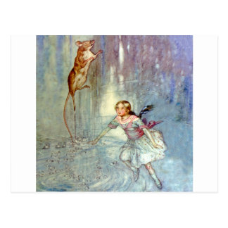 Alice and the Mouse Swim in the Pool of Tears Postcard