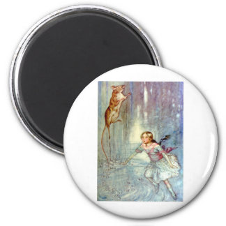 Alice and the Mouse Swimmimg in the Pool of Tears 2 Inch Round Magnet