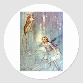 Alice and the Mouse Swimmimg in the Pool of Tears Classic Round Sticker