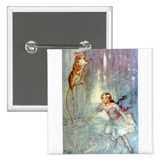 Alice and the Mouse Swimmimg in the Pool of Tears Pinback Button